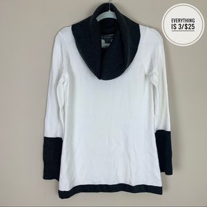 French Connection White Cowl Neck Sweater MD